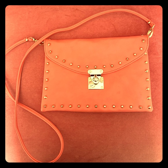Forever 21 Handbags - Forever 21 Orange w/Gold Studs Crossbody Handbag